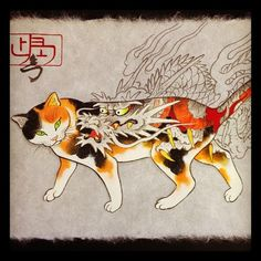 """Kazuaki Kitamura (nicknamed """"Horitomo"""") is a Japanese tattoo artist who is skilled not only in the use of an electric tattoo gun, but also i. I Love Cats, Crazy Cats, Cool Cats, Japanese Cat, Japanese American, Asian Cat, Animal Gato, Illustration Art, Illustrations"""