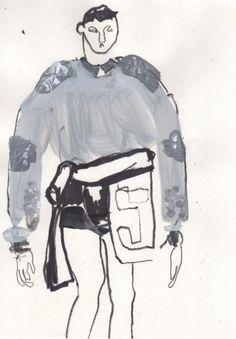 Helen Bullock: Givenchy @ Paris Menswear A/W 2013 - SHOWstudio - The Home of Fashion Film A Level Textiles, Fashion Sketches, Fashion Illustrations, Man Illustration, Drawing Studies, Givenchy Paris, Sketchbook Inspiration, Fashion Art, Fashion Design