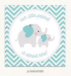 Our Little Peanut Tag / Elephant Birthday Shower Favor / Elephant Tag / Little Peanut Shower Tag designed by Lovely Letters Design  lovelylettersdesign.com