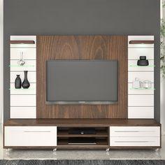Compre Rack com Painel para TV até 55 Polegadas com luminárias de LED Lusin 100% MDF Rovere Marsala/Branco - Urbe Móveis em Promoção com ✓ Até 12x ✓ Fretinho