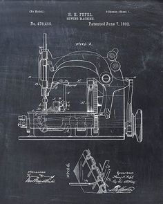 This is a print of the patent drawing for a sewing machine patent in 1892. The original patent has been cleaned up and enhanced to create an