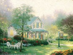 """The Village Inn - 1993 - Thomas Kinkade.  """"Nanette and I are delighted to see intimate bed and breakfast inns becoming so popular in our own country, each with its own distinctive character. The Village Inn is my dream of an intimate, utterly charming bed and breakfast.""""  --Thomas Kinkade"""