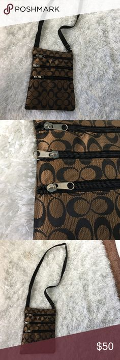 COACH satchel. BRAND NEW Adorable brown COACH satchel. NEVER USED. Still has plastic in it. 3 pockets.can carry quite a bit. Coach Bags Crossbody Bags
