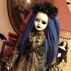 Creepy Sweet Mourning Lady Doll With Blue Hair Gothic Custom Ooak