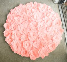 Round Rosette Rug Photo Prop/ Baby Nursery/ Bathroom/Bedroom/Living Room Kitchen/Shabby Chic/Modern/Tea Party. $100.00, via Etsy. This is perfect for a bathroom or a girls bedroom....I might be able to make something like this....