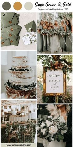Top 8 September Wedding Color Combos for 2020 - Sage Green + Gold. wedding colors Top 8 September Wedding Color Combos for 2020 September Wedding Colors, Fall Wedding Colors, Wedding Color Schemes, September Weddings, Emerald Wedding Colors, September Colors, Sage Green Wedding, Wedding Ideas Green, Green Wedding Decorations