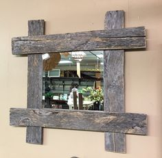 Rustic Pallet Furniture Wood Wall Mirror by BandVRusticDesigns