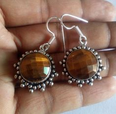 Natural Tigers Eye Gemstone Earring Faceted Round Cut Oxidized Silver Material #HAYAATGEMS #DropDangle