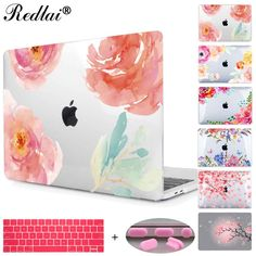 Floral Crystal Clear Print Hard Case For Macbook Pro 13 15 2016 Touch bar Laptop bag Air Pro Retina 12 13 15 with Keyboard Cover //Price: $26.55//     #Gadget