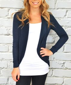 Look at this Olivia & Jane Navy Tapered Open Cardigan on #zulily today!