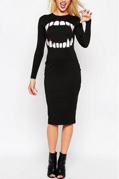 Vampire Mouth Print Long Sleeve Round Neck Bodycon Midi Dress