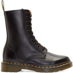 Ankle-high buffed leather boots in black. Round toe. Black lace up closure. Zip closure at inner face. Logo pull loop at heel collar. Signature yellow topstitching at welt. Signature Air Cushion rubber sole. Tonal stitching.
