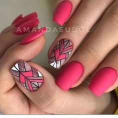 Want some ideas for wedding nail polish designs? This article is a collection of our favorite nail polish designs for your special day. Nail Art Designs, Short Nail Designs, Nail Polish Designs, Bright Pink Nails, Bright Nail Art, Nail Pink, Hot Pink Nails, Colorful Nail, Nail Nail