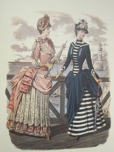 Seaside bustle dress around 1884