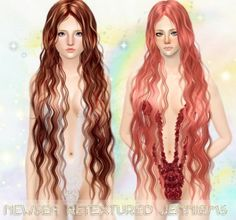 Super long and curly hairstyle - Newsea Hair Siren Forest retextured by Jenni Sims - Sims 3 Hairs