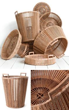 Famous Dutch designer Piet Hein Eek has created a beautiful collection of baskets for Fair Trade Originals. He collaborated with traditional Vietnamese craftsmen and made the baskets out of scrapwood in accordance with Fair Trade principles. Rattan, Wicker, Wood Basket, Bamboo Crafts, Diy Holz, Salvaged Wood, Diy Crafts To Sell, Basket Weaving, Home Accessories