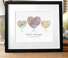 3 Heart Map Print Met Married Home Personalized Wedding Gifts Custom
