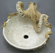 octopus sink Ceramic Reef Art By Shayne Greco