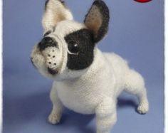 French bulldog by NataliatoysArt on Etsy Toy Bulldog, French Bulldog Puppies, French Bulldogs, Felt Tip Markers, Knitting Patterns, Crochet Patterns, Crochet Patron, Fabric Tape, Dog Pattern