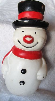 Vintage 1970's Squeaky Snowman Baby Toy by AuntSuesVintage on Etsy, $9.99