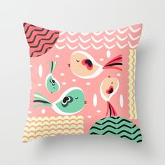 Buy Funny birds in pink and blue Throw Pillow by cocodes. Worldwide shipping available at Society6.com. Just one of millions of high quality products available. #s6gtp