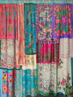 SPRINGTIME IN PARIS Bohemian Gypsy Curtains great idea for those scarves I see. will grab them next time. Cottage Curtains, Bohemian Curtains, Diy Curtains, Cheap Curtains, Window Curtains, Patchwork Curtains, Scarf Curtains, Roman Curtains, Double Curtains