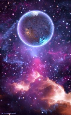 """geyashvecova: """" Art G.Shvecova (Design graphics - Purple """"this one is nice because it is colorful and the galaxy is nice Planets Wallpaper, Cute Wallpaper Backgrounds, Pretty Wallpapers, Nature Wallpaper, Cool Wallpaper, Purple Galaxy Wallpaper, Iphone Wallpaper, Galaxy Painting, Galaxy Art"""