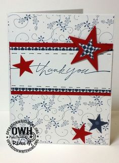 Beautiful thank you card made for Operation Write Home (Oct'12) #patriotic, #other cards