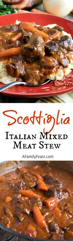 Scottiglia - A Tuscan Mixed Meat Stew cooked until fork tender and delicious!