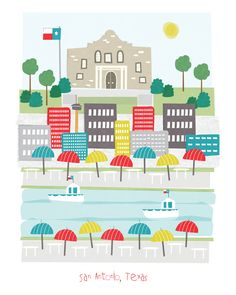 San Antonio Texas  11x14 print  city illustration por confettielove, $20.00