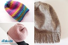Knit hat - free knitting instructions for beginners - Talu.de In this beginner& knitting pattern we show you two ways of knitting a hat. So winter can come! Record of Knitting S. Knitting Socks, Free Knitting, Knitting Patterns, Crochet Patterns, Crochet Ideas, Beginner Knitting Projects, Knitting For Beginners, Crochet Beanie, Knitted Hats