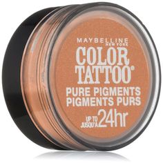 Maybelline New York Eye Studio Color Tattoo Pure Pigments, Black Mystery, Ounce. Explosive Pure Pigments For More Intense Color. Superior Staying Power, For All Day Wear - Up to 24 Hours. Maybelline Color Tattoo, Maybelline Eyeshadow, Pigment Eyeshadow, Makeup Order, Makeup Looks For Brown Eyes, Pigment Coloring, Tattoo Kits, Eye Primer, It Goes On