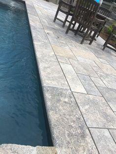 Silver Select Plus Travertine Pavers Swimming Pool Waterfall, Swimming Pools Backyard, Pool Landscaping, Lap Pools, Pool Coping, Pool Pavers, Travertine Pavers, Pool Remodel, Backyard Pool Designs
