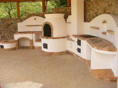 Compact outdoor kitchen with fire pit for cauldron, pizza oven, BBQ and traditional stove. Gyönyörű nyári konyha, tűzhellyel, grillsütővel, kemencével, üstházzal.