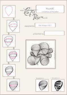 Zentangel und Zentangle inspired art gezeichnet von Ela Rieger mit ihrem neuen Muster Rundl