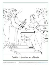 David and Jonathan Were Friends Coloring Page - Children's Bible Activities Bible Story Crafts, Bible School Crafts, Bible Crafts For Kids, Bible Study For Kids, Preschool Bible, Bible Activities, Kids Bible, Vbs Crafts, Group Activities