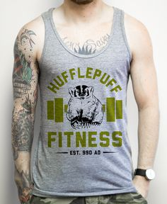 Hufflepuff Fitness on an Athletic Grey Tank Top