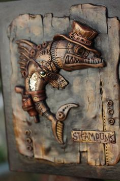 Mixed Media Painting, Mixed Media Art, 3d Pencil Drawings, Steampunk Animals, Steampunk Artwork, Cartoon Fish, Mixed Media Sculpture, Vintage Jewelry Crafts, Wood Carving Patterns