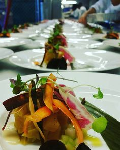 Work mode behind the scene at a Stevie Wonders concert. #theartofplating #redandgold #beetsalad #fresh #watercress #salad #thedavidfosterfoundation #chefsofinstagram #isawsteviewonder #thelegend #backstage by chef_krishna