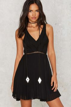 at nasty gal pleat the system fit flare mini dress
