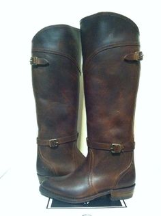 2488fa3bd5ae Frye Dorado Lug Riding Boots Women s Camel Antique Brown Leather Knee High  6.5 M  Frye