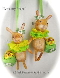 Spun cotton ornament  Easter Rabbit by MariePattersonStudio,