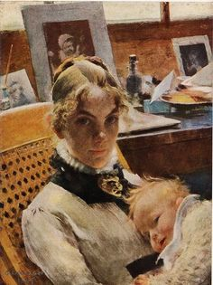 Carl Larsson 1885. The Artist's Wife with Daughter Suzanne