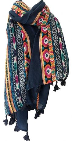 warm-bohemian 15 x 170 cm Woollen Scarf pink chunky knit stripe long tasselled
