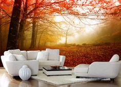 Autumn+leaves+wallpaper+forest+wall+mural+by+StyleAwall+on+Etsy,+$436.00