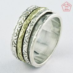 Sz 7.5 US, PROGRASSIVE DESIGN 925 STERLING SILVER SPINNER RING,R4489 #SilvexImagesIndiaPvtLtd #Spinner #AllOccasions