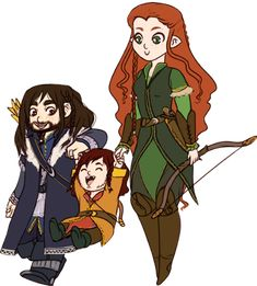 My dad and I came up with a theory on how Hobbits came into being. This is pretty much it. (Though not Kili and Tauriel specifically, of course.)