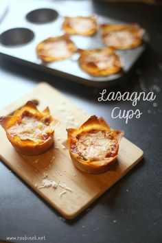 Lasagna Cups with won tons instead of pasta! Great for entertaining or just feeding the kids. A crowd favorite and so easy to make.   Roubinek Reality www.roubinek.net