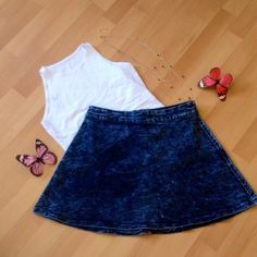 Adorable skater skirt Light Jean skater skirt size medium NWOT. Semi acid wash the wash of each skirt is different and not all identical. Brand special A Special A Skirts Circle & Skater