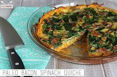 Sou Paleo: Quiche de Bacon e espinafres. Primal Recipes, Real Food Recipes, Cooking Recipes, Healthy Recipes, Healthy Breakfasts, Healthy Foods, Yummy Recipes, Free Recipes, Paleo Breakfast